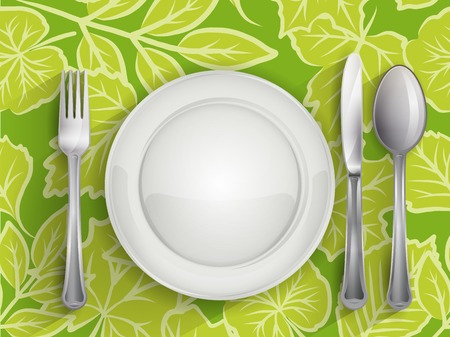 knife fork: Plate  spoon  knife and fork, vector illustration 4 your design eps10 3 layers