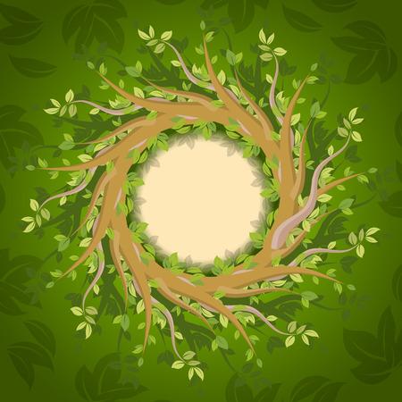 decorative design: Floral forest frame, vector illustration for Your design Illustration