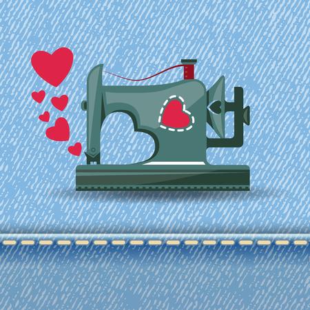 maquinas de coser: De la m�quina de coser con amor Vectores