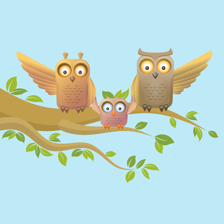 happy family: Owl happy family, learning to fly