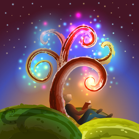 the reader: Imagination tree reading, vector illustration for Your design, eps10