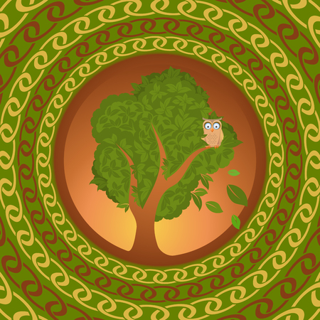 해외로: Owl on oak looking abroad, vector illustration for Your design, eps10 일러스트