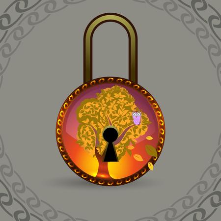 escape key: Magic decorative lock, vector illustration for Your design Illustration