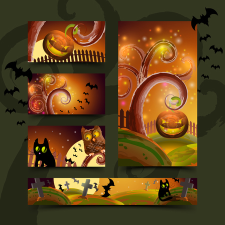 Halloween cards set, vector illustration for Your design, eps10 Illustration