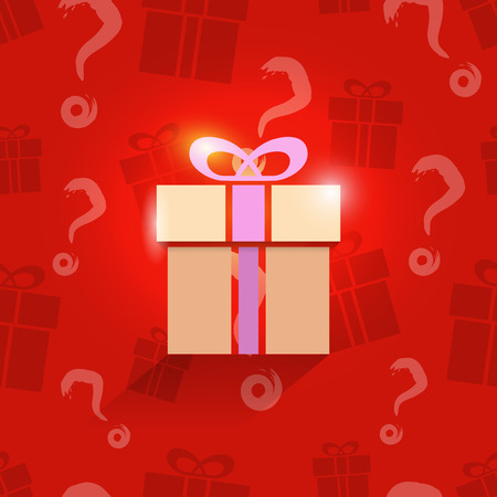 shopping questions: Gift box on seamless present pattern, vector illustration for Your design, eps10