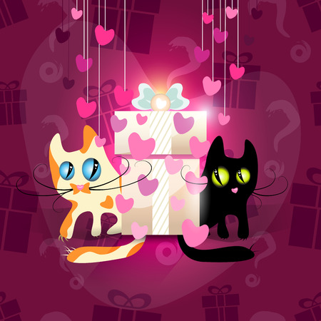 perl: Cats falling in love, seamless pattern of gift boxes included, vector illustration for Your design, eps10 easy editable 6 layers