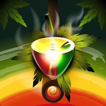 religion  herb: Rastafarian worldwide pipe, vector illustration for Your design, eps10 Illustration