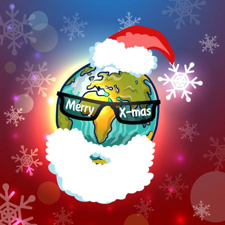 worldwide wish: Santa Claus globe, vector illustration for Your design, eps10 Illustration