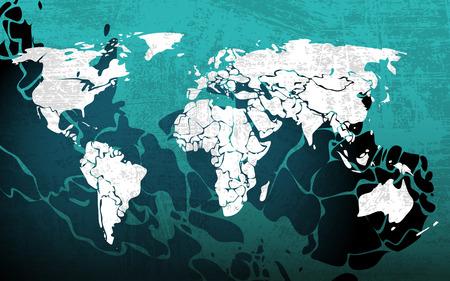 Grunge blue worldmap, vector illustration for Your design, eps10 Illustration