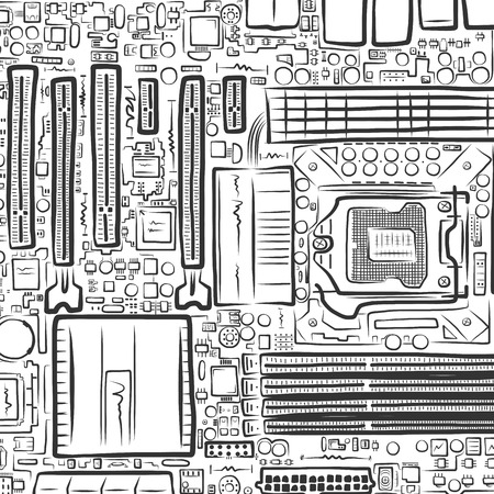 electrical part: Hand drawn motherboard, conceptual vector illustration for Your design, eps10
