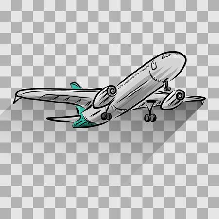 Vliegtuig op een transparante, vector illustratie voor uw ontwerp, Stock Illustratie