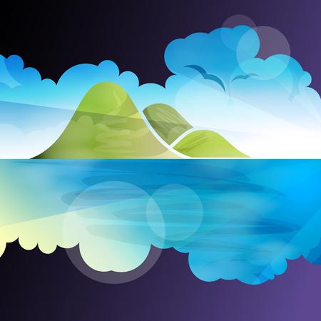 summer cartoon: Tropical islands dreams, vector illustration for Your design,