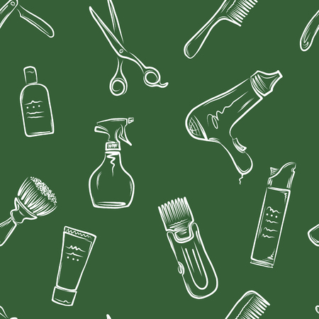 haircutting: Barbershop doodle pattern, vector illustration for your design, eps10