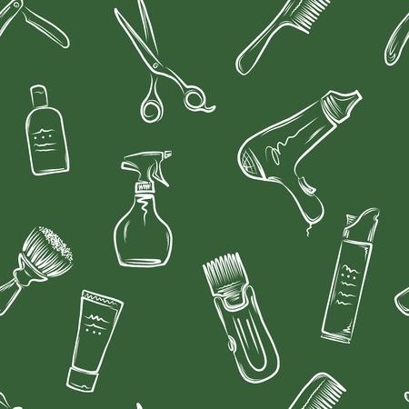 shear: Barbershop doodle pattern, vector illustration for your design, eps10