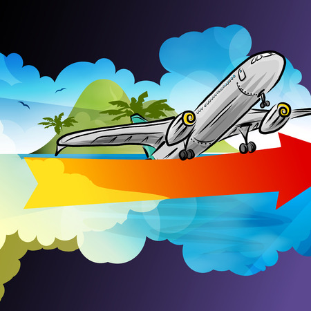 idealistic: Departure arrival card, arrow signboard, vector illustration for your design  Illustration