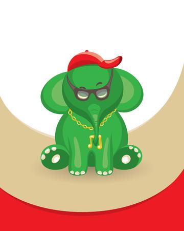 rounding: Green music elephant illustration for your design Stock Photo