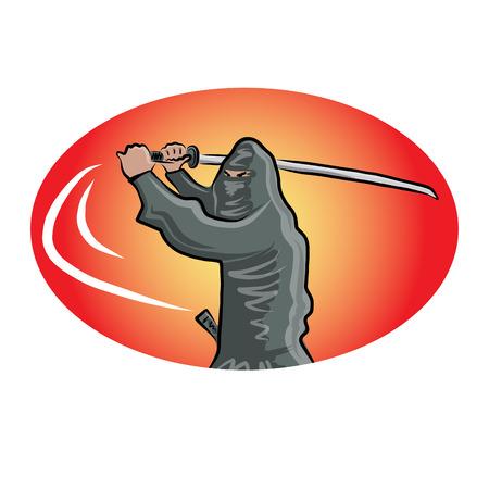 katana: Ninja with katana, vector illustration for your design,