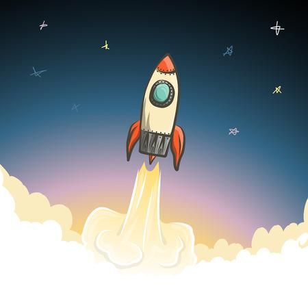 open space: Rocket start to open space