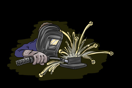 Welder isolated on black, vector illustration for Your design, eps10