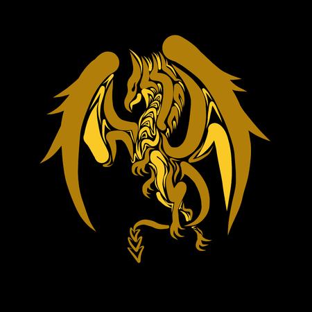 amarillo y negro: Dragón, ilustración vectorial para su diseño, eps10