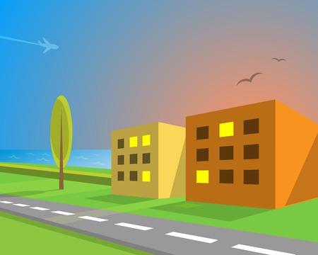 suburban street: Seaview suburban street, vector illustration for Your design, eps10