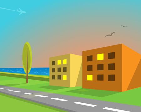seaview: Seaview suburban street, vector illustration
