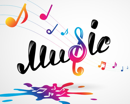 rainbow music: Colorful music logo on white, vector illustration for Your design, eps10