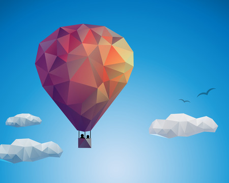 Air balloon, couple in sky, vector illustration for Your design, eps10 Ilustracja