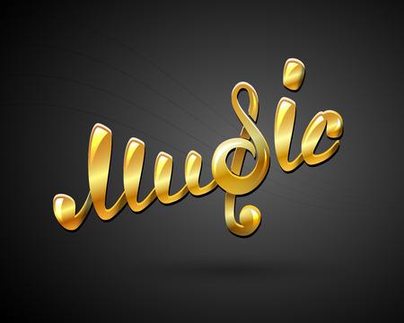 logo music: Golden music logo on black, vector illustration for Your design, eps10
