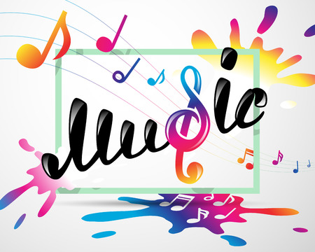logotipo de la música colorido en marco, ilustración vectorial para su diseño, eps10