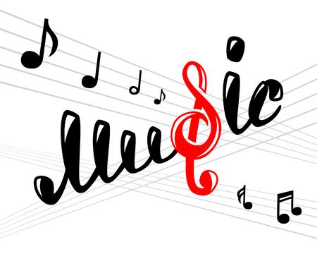 musico: logotipo de la música en blanco, ilustración vectorial para su diseño, eps10 Vectores