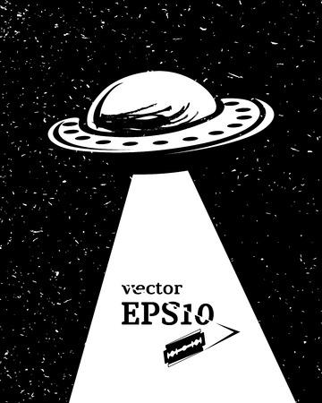 an invasion: Monochrome UFO invasion, vector illustration for your design