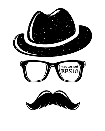 illustration cool: Hipster disguise set, vector illustration for your cool design
