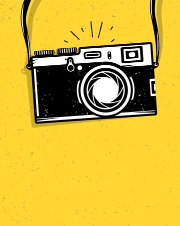 amarillo y negro: Vintage cámara de fotos, ilustración vectorial para su diseño fresco, eps10 Vectores