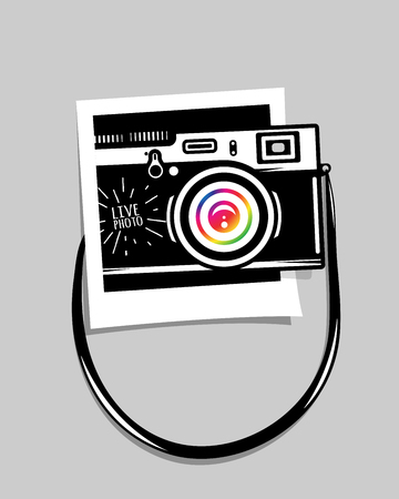 shadowing: Vintage photo camera out of photoframe, vector illustration for your cool design, eps10 Illustration