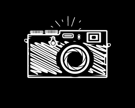 Vintage photo camera doodle style, vector illustration for your cool design,