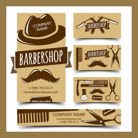 barbershop: Barbershop cards set, vector illustration Illustration