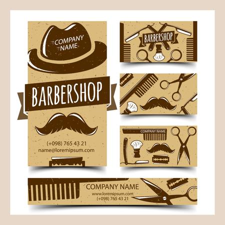 barbershop: Barbershop cards set, vector illustration for Your design, eps10