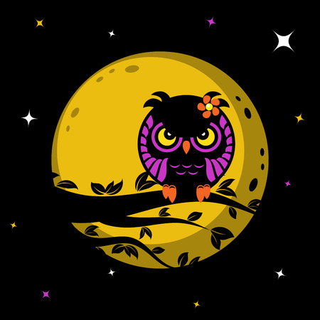 Funny owl sitting on tree in front of the moon, vector illustration for Your design, eps10 Illustration