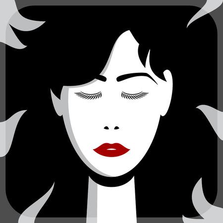 bleaching: Asian girl face, vector illustration for Your design, eps10