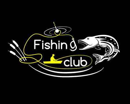 pike: Pike fishing club, vector illustration for your design