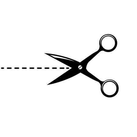 clip art cost: Vector scissors with cut lines isolated on white background