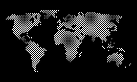 the map of the world: World Map round pixel dots, vector