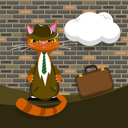 cat suit: Orange cat in suit with briefcase make a deal, vector illustration Illustration