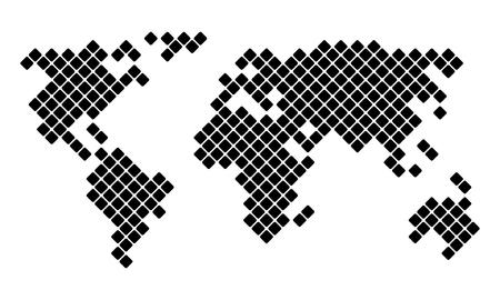 Pixel World Map, vector illustration for your design