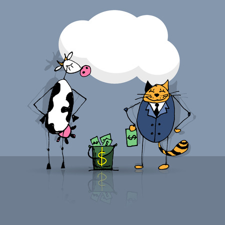 cash cow: Business deal cat and cow, vector sketch illustration
