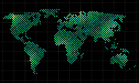 green world: Colorful pixel world map, vector illustration for your design,