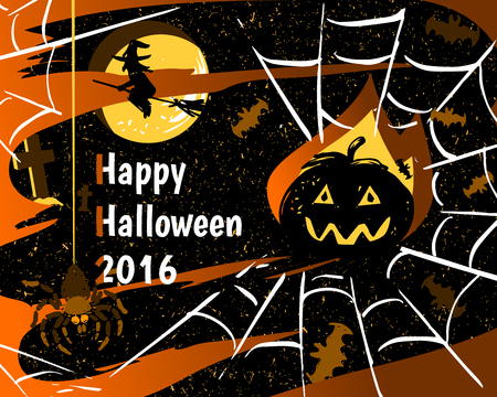 31th: Halloween party greeting card of pumpkin, spider on web, bats and flying witch