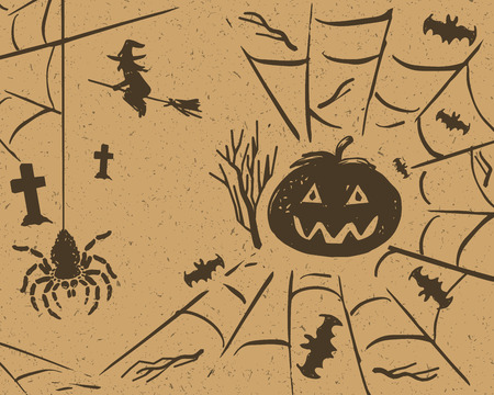 flying witch: Halloween design set of pumpkin, spider on web, bats and flying witch on grunge retro paper background Illustration