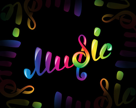 conduct: Colorful music  on black, vector illustration for your design Illustration